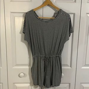 White and grey striped romper with pockets